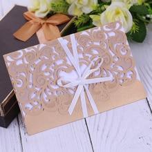 Flores románticas de la tarjeta de invitación de boda Delicado tallado pequeño floral patrón de corte por láser mr señora tarjeta de nombre de boda favores de partido