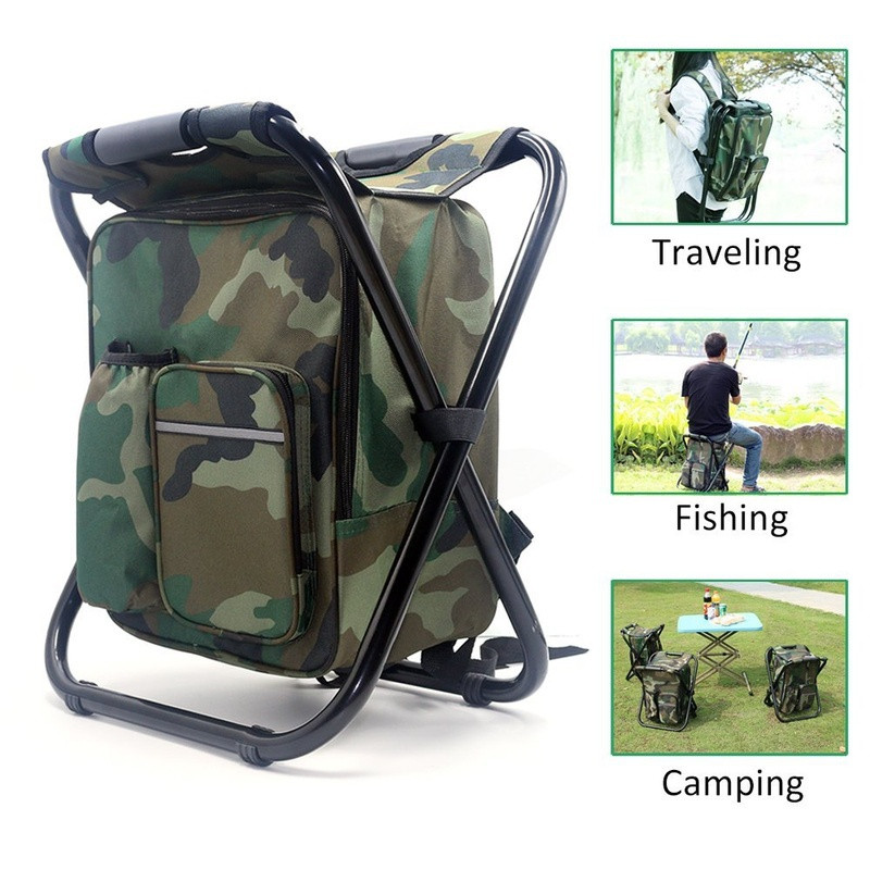 Camouflage Folding Backpack Chair Wear-resistant Folding Chair With Backpack Hunting Climbing Fishing Hotaden Folding Camping Chair Insulated Picnic Bag Rucksacks Seat Chair Bag for Outdoor