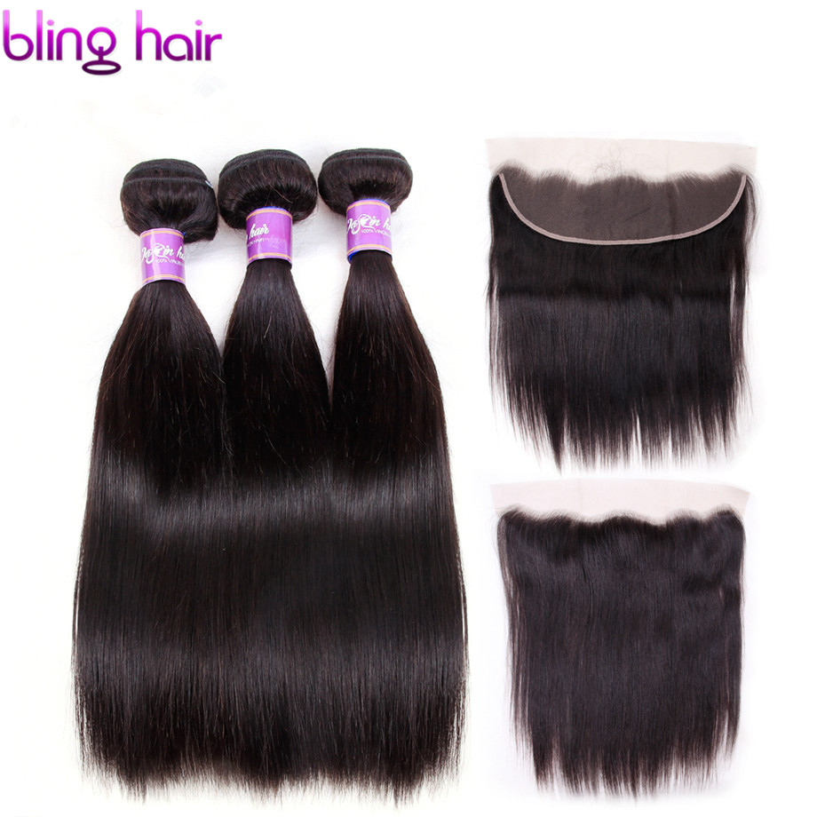 Bling Hair Brazilian Straight Hair 3 Bundles with Lace Frontal 13*4 Closure 100% Remy Human Hair Natural Black Color No Shedding