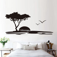 Forest Tree And Seagulls Nature Wall Sticker For Living Room Seaside Sunset  Scenery Wall Mural Vinyl Part 92