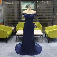 Navy Blue Mermaid Dresses Prom Exquisite Beaded Lace Floor Length Elastic Satin Long Evening Gowns 2019 Custom Made Party Dress