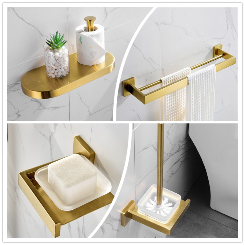 Us 11 61 45 Off Brushed Gold Bathroom Set Accessories Towel Rack Stainless Steel Ring Accessory Sets With Soap Dish Wall Mounted In