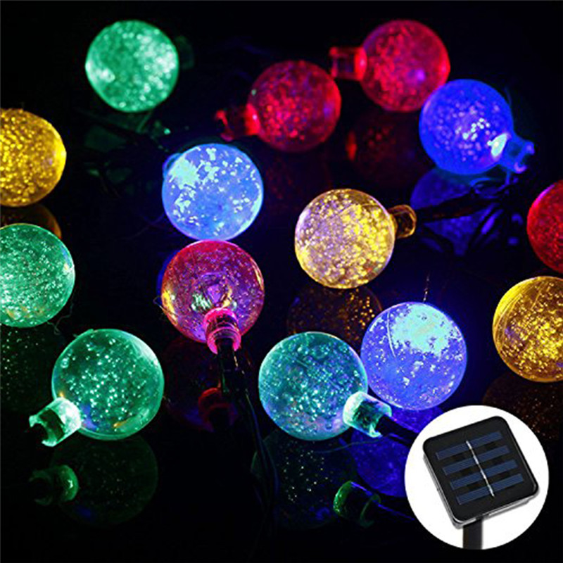 30 LED Crystal Ball Solar Powered Outdoor String Lights for Outside Garde Christmas Fairy Valentines Wedding Decoration Lamp