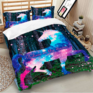 Image 3 - カラフルなユニコーン寝具セット布団カバー寝具ツイン女王キングサイズ 3 個ホームテキスタイル