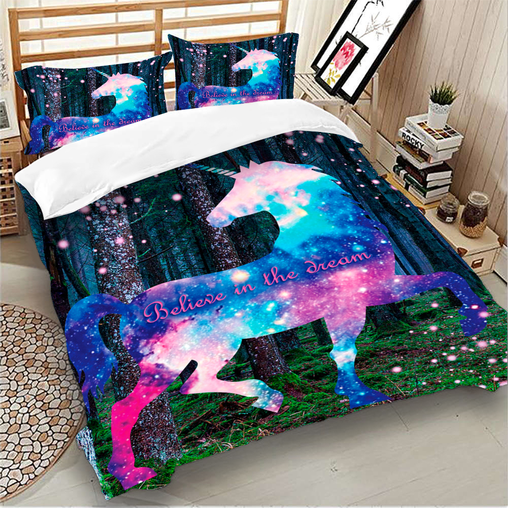 Image 3 - Colorful unicorn Bedding Set Duvet Cover Bedclothes Twin queen king size 3pcs Home Textiles-in Bedding Sets from Home & Garden