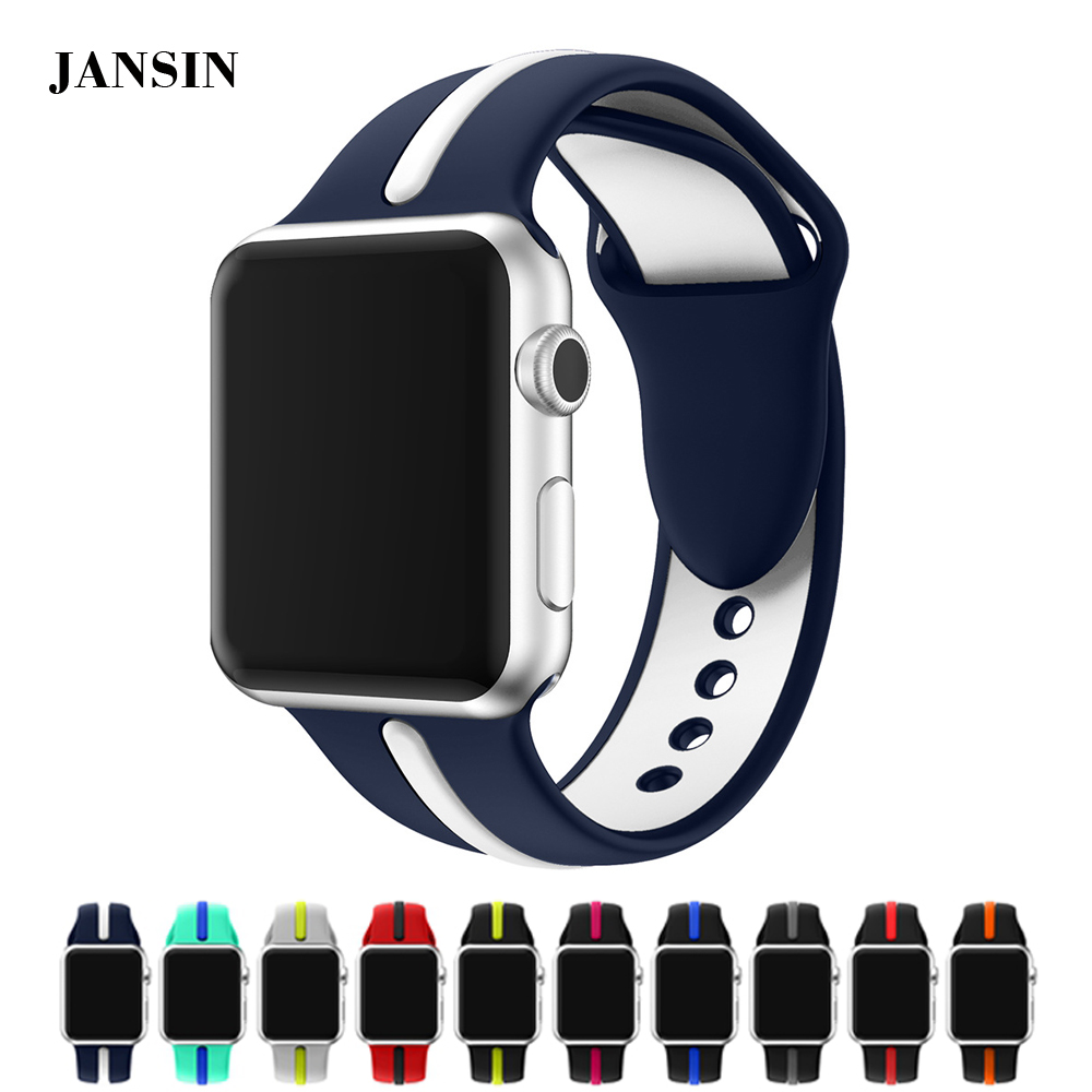 JANSIN Silicone Sport strap For Apple Watch band 38mm 42mm Series 3 2 1 Soft Silicone bracelet Wristband for iWatch jansin new 12 colors 26mm sport silicone watch band soft silicone strap watchband for garmin fenix 5x 3 3hr band easy fit