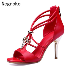 Brand 2019 Genuine Leather Women Sandals Sexy Metal Moving Buckle High Heels Summer Gladiator Dress Shoes Woman Sandalias Mujer