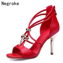цена Brand 2019 Genuine Leather Women Sandals Sexy Metal Moving Buckle High Heels Summer Gladiator Dress Shoes Woman Sandalias Mujer в интернет-магазинах