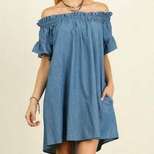 a2ee76a2900 Denim Plus Size Womens Off The Shoulder Bardot Denim Look Shirt Dress Tops  Beach wear Party sexy Vintage dress WF595