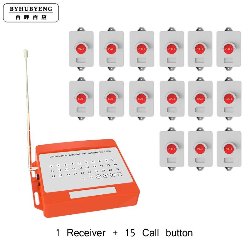 Système d'appel de Construction sans fil démo vidéo Distance FM certifiée étanche à l'eau> 1000 m 15 pc bouton d'appel sans fil