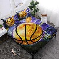 3D Oil Painting Basketball Sheet Set Teens Sports Bed Sheet Flat Sheet Bed Linens Deep Pocket Fitted Sheet Pillowcase 3/4Pcs D40