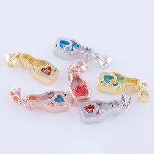 Juya DIY Beliebte Dekoration Frauen Parfüm Flasche Blau/Rot Granat Charme Für Halskette Kristall Flasche Anhänger