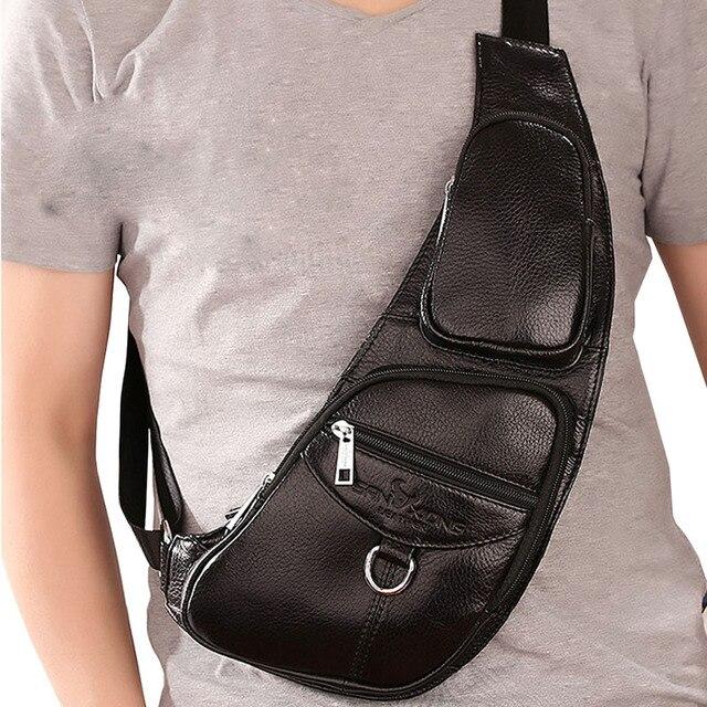 Homens Da Forma Do Vintage de Couro Sling Bag Pacote Peito Corpo Cruz Mensageiro Sacos de Ombro Bolsa de Viagem de Equitação Da Motocicleta