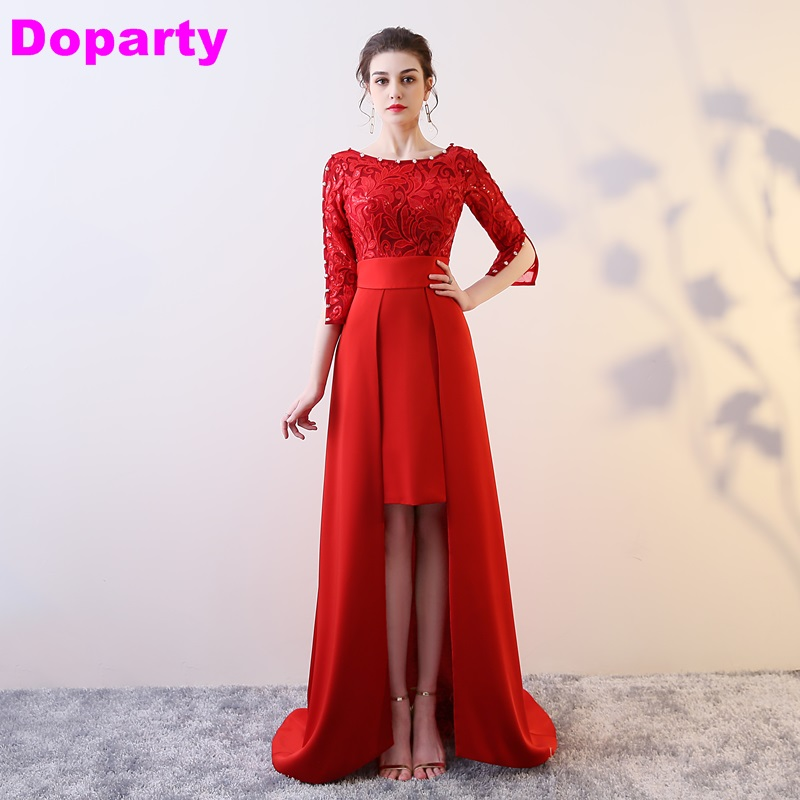 Doparty ball gown special occasion lace elegant long gowns sexy evening red  women party  of the bride beaded dresses