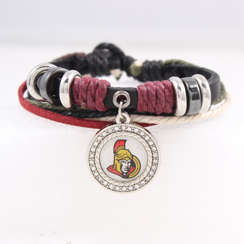 2017 Ottawa Senators Personalized adjustable bangle leather Woven Bracelet Camping Sports Fans Bracelets & Bangles 1pcs