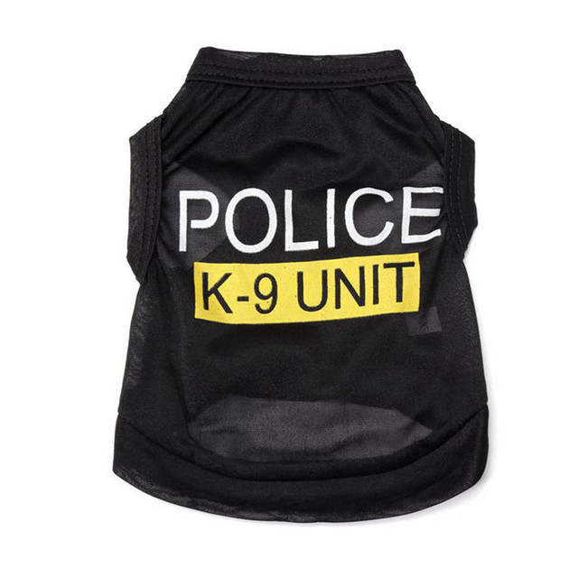 Handsome Police Pattern Pet T-Shirts Small Puppy Summer Comfortable Clothes Dog Apparel Costumes