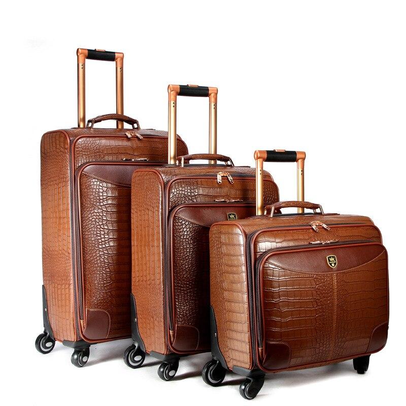Letrend Spinner чемодана колеса Роллинг Чемодан 16/20 дюймов Высокая-класс Крокодил шаблон Тележка кожа PU дорожная сумка