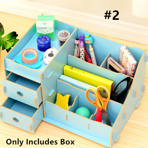 Wood Cosmetic Makeup Storage Drawer Organizer Desktop Case Finishing Box DIY New