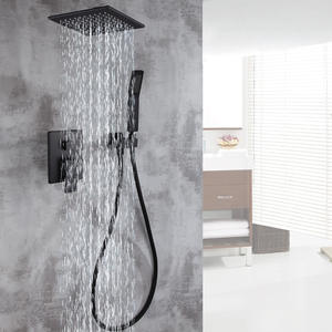 Faucet Shower-Set Embedded-Box-Mixer-Valve Bathroom-Products Black Bifunctional