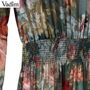 Image 5 - Vadim kobiety z kwiatowym wzorem z szyfonu sukienka dwa kawałki zestaw z długim rękawem w pasie do połowy łydki o szyi casual sukienki markowe vestidos QZ3200