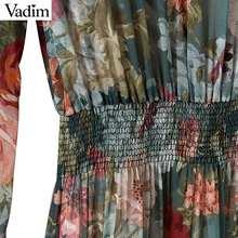 Vadim women floral chiffon dress two pieces set long sleeve elastic waist mid calf o neck casual brand dresses vestidos QZ3200