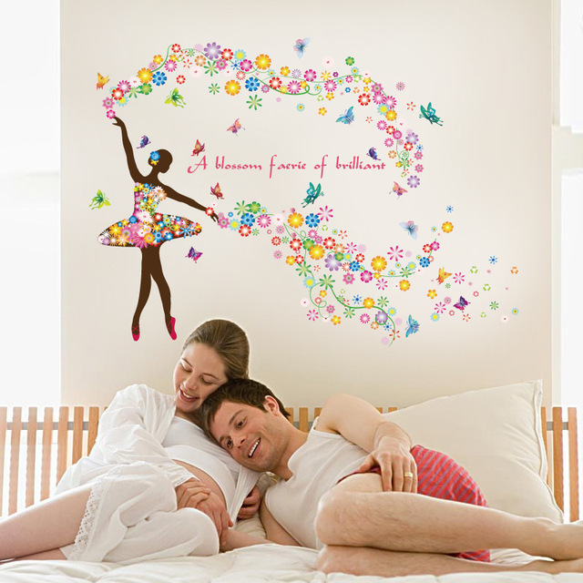 Blossom Flower Fairy Wall Stickers Bedroom Decoration Removable Vinyl Decal For Childrens Room Window Sticker
