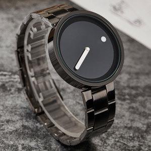 Image 4 - Creative Simple Dot Line Watch Men Unique Cool Male Clock Steel Wrist Watch Simple Fashion Quartz Watch Gifts relogio masculino