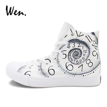 Wen Original Design Hand Painted Shoes Numbers Time Clock Drawn Canvas Sports Sneakers Men Women's Skateboarding Shoes
