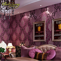 Papel De Parede European Luxury Purple 3D Stereoscopic Thick Non Woven Flocking Wallpaper Damascus Cozy Bedroom