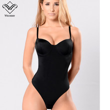 Wechery Body Shaper บอดี้สูทเซ็กซี่เอวเทรนเนอร์ชุดชั้นในรัดตัว Backless Push Up สีดำ Bodysuit Shapewear ผู้หญิง Tops