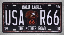 1 pc Route 66 mother road US Car license Bald eagle Tin Plates Signs garage wall man cave Decoration Metal Art Vintage Poster
