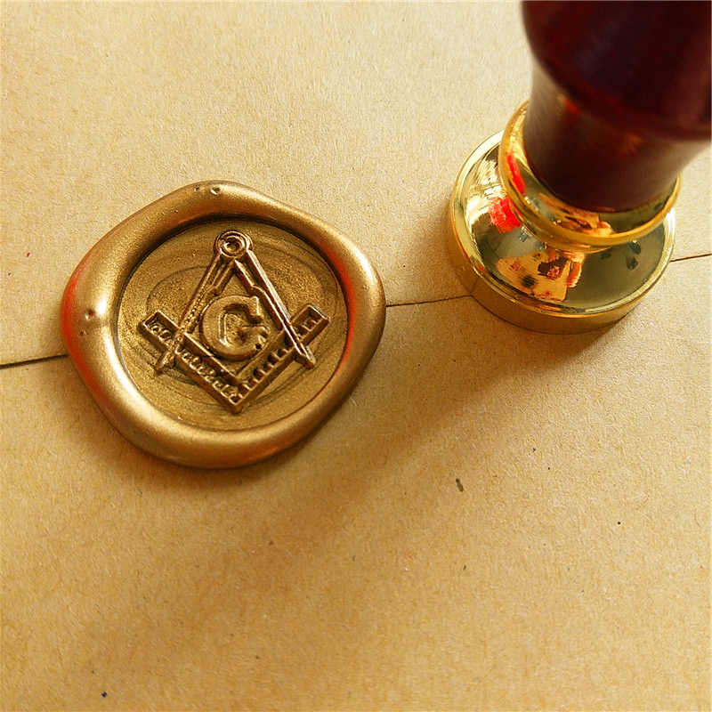 Free-Mason Free and Accepted Masons logo The Free Mason's Symbo Compasses and trisquare Letter G wax seal stamp ,sealing wax