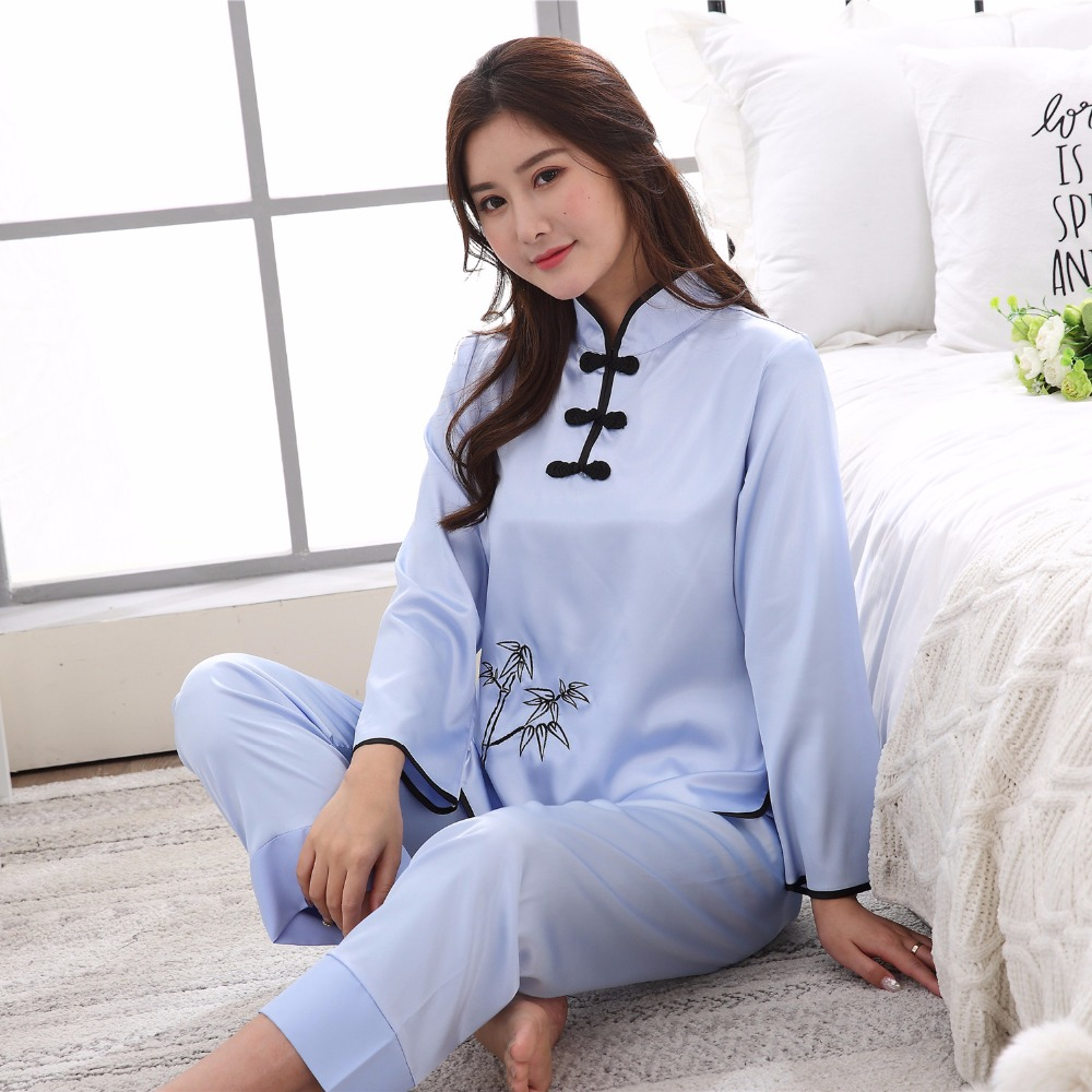 a87f4b81cfdc Hat Sale Red Ladies Faux Silk Pajamas Set Chinese Traditional Button Pyjamas  Suit 2PC Shirt Pant Spring New Sleepwear M XXL-in Pajama Sets from  Underwear ...