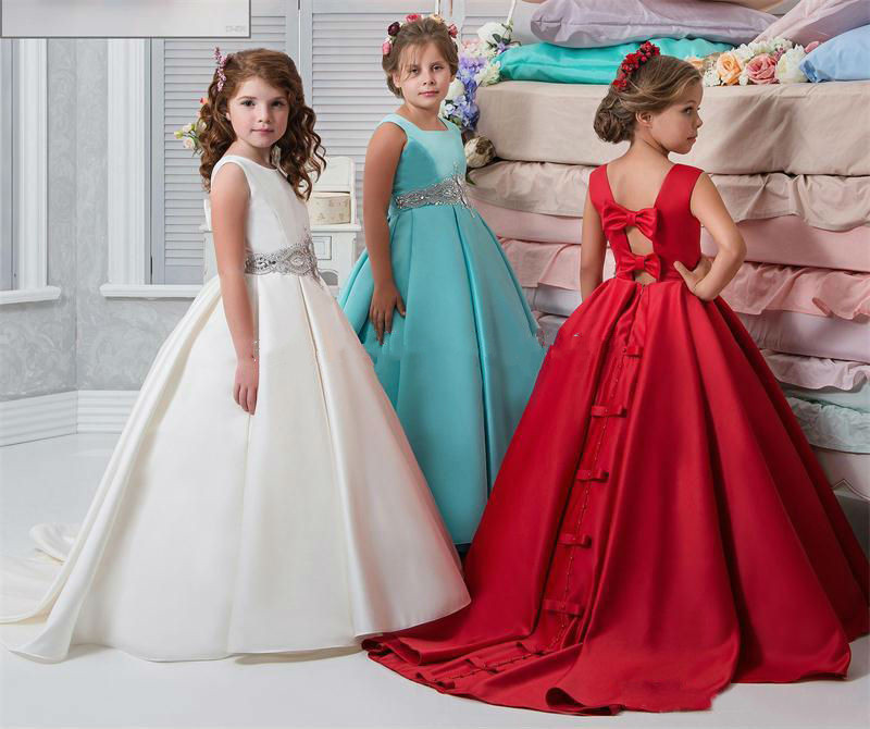 New Flower Girl Dresses Ball Gown Sash Crystals Beads Girl Pageant Dress For Wedding Back Bow Sexy Back Kids Party Dress new dubai girl s pageant dresses crystals blue lace ball gown glamorous kids pageant dress flower girls gowns for wedding