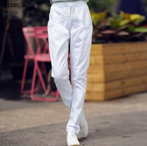 Şeker Renk Yeşil Mavi Siyah Beyaz Kırmızı Jogger Kadınlar Casual Harem Kot Bayan İpli Denim kalem pantolon Mujer Femme
