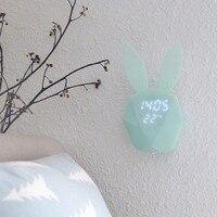 Cute Bunny Rabbit Cyfrowy Budzik Zegar Noc Światła Led Ładowania Akumulator