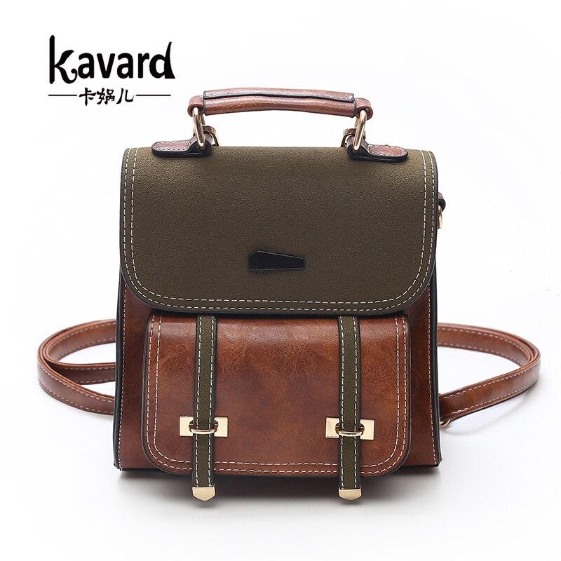 Kavard Retro Mini Backpack Women Backpacks Panelled Vintage Girls School Bags for Girls PU Leather Women Backpack Famous Brand realleader м2 1005