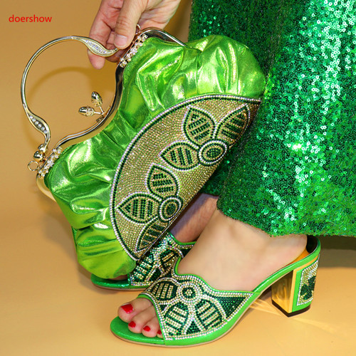 doershow Nigerian Party Shoe and Bag Sets Italian Shoes with Matching Bags for Women African Wedding Shoes and Bag Sets SLY1-17 doershow italian shoe with matching bag silver african shoe and bag set new design matching shoes and bags for party bch1 6