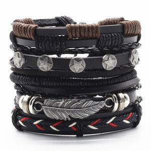 Feather Skull Wing Handmade Guitar Weed Black Charm Brown Bronze Leather Men Bracelets Women Fashion Bangle male Jewelry(China)