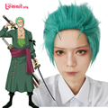 L-email Roronoa Zoro Cosplay Wigs Heat Resistant Synthetic Hair Men Green Short Cosplay Wig