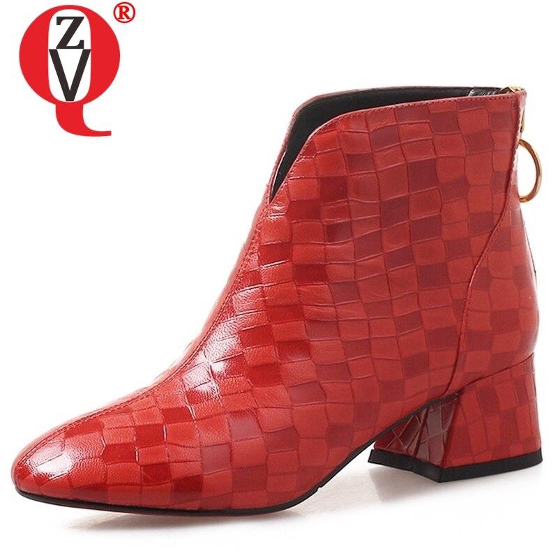 ZVQ women shoes 2019 new popular square toe sheepskin med square heel zipper black and red