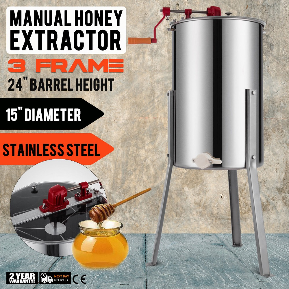 VEVOR 3 FRAME HONEY EXTRACTOR STAINLESS STEEL Manual Honey Extractor WITH  CE