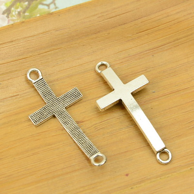 two/2 holes cross shape alloy connective DIY charm Christmas pendant jewerly accessories findings antique silver necklace chain