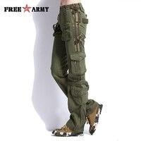 Duży Rozmiar Cargo Spodnie Kobiety Odzież Spodnie Taktyczne Wojskowe Multi-pocket Zieleń wojskowa TO7305-2 Biegaczy spodnie Bawełniane