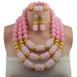 Free Shipping,Fashion Trendy nigerian wedding African Beads Pink Jewelry Sets Crystal Necklace Set Party Wedding Dubai Jewelry