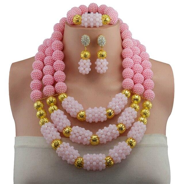 c4fe4874101f43 € 30.78 49% de réduction|Livraison gratuite, mode mariage nigérian à la  mode perles africaines ensembles de bijoux rose collier en cristal ...