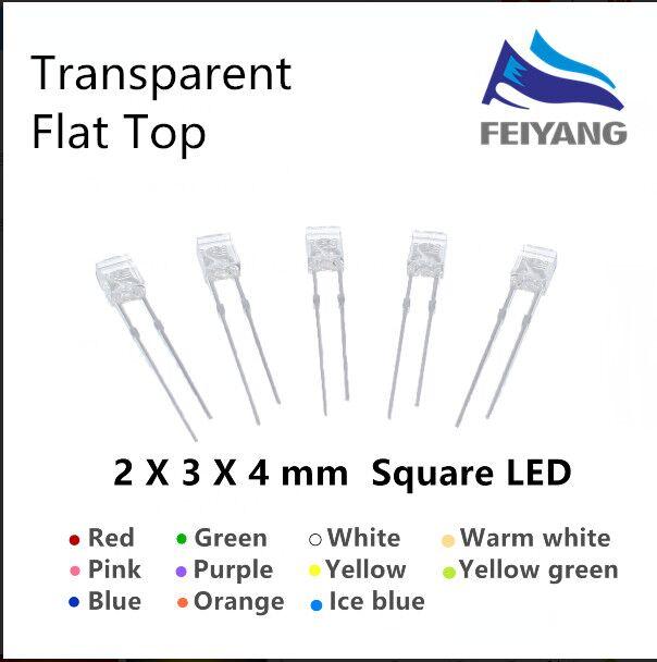1000 PCS LED FLAT 2X3X4 mm White Rectangle Water Clear LEDs Light//Lamp 2*3*4