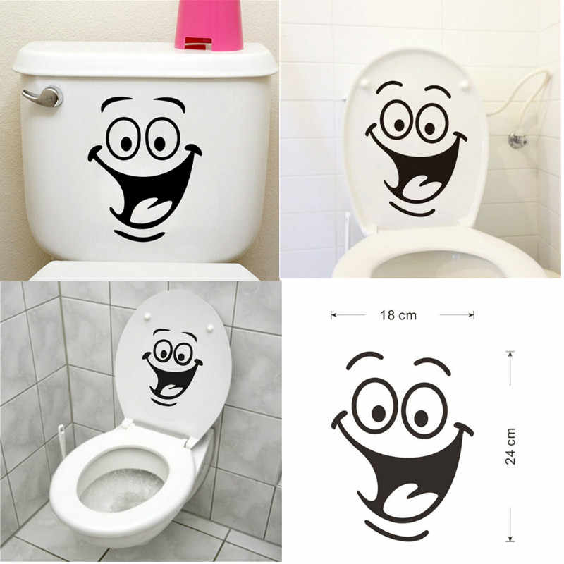 Cute Smile Face Big Eyes Office Hotel Toilets Bathroom Home Decal Wall Sticker/adesivo De Parede For Wedding Decoration
