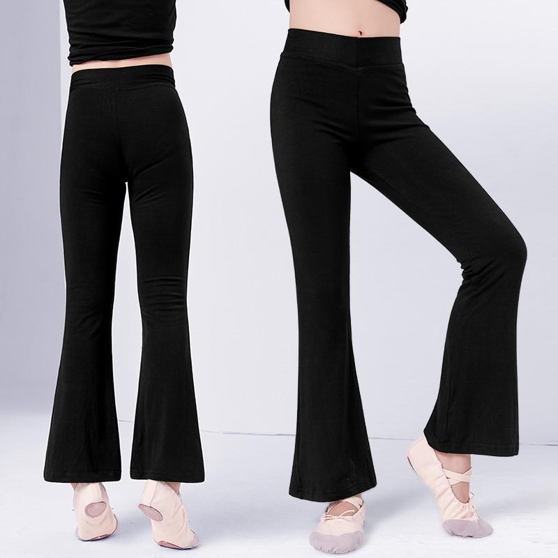 Children Cotton Ballet Trousers Girls Adult High Waist Stretch Bell-bottoms Dance Flare Pants Broad Leg Yoga Sport Ballet Pants