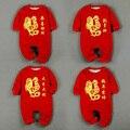Feliz Año Nuevo Traje Para Niños Niñas Imprimir Oro Pollo Ropa Tradicional China 2 Capas Engrosadas Bebé Monos Mamelucos